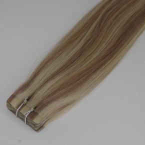 Lækkker Tape extensions, håret er 100% ægte. Håret er double drawn, som betyder at det er lækkert tykt selv i bunden.  Der er 20 stk. Pr. 50g, og hver stk. vejer 2,5g Håret er 40cm langt.  Prisen er pr. 50g  Farvekode #60/16
