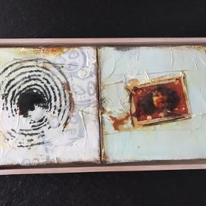 2 skønne malerier i én ramme kan dog deles. Længde 41 h 22 cm. Ikke ryger hjem mp 2500kr