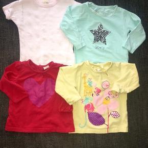 68 bluse Tøjpakke tøjpakker  lyseblå ny bluse m stjerner, rød bluse m pink glimmer hjerte kakeleret, gul med dyr pletter v armhule Joha lyserød hvid stribet  lyseblå rød pink