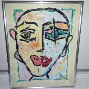 Dejligt maleri med ramme uden glas, helt med vilje Str. 40 x 50 cm T.By.Art Se mine andre malerier i mine andre annoncer