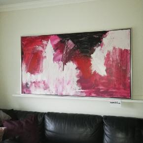 Flot ægte maleri med svæveramme 100x175 cm
