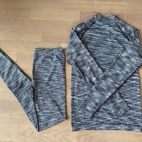 Sportsundertøjs sæt i lækker blød kvalitet af polyester/polyamid/elasthan. Bløde elastiske sømme og lille krave. Passer str 38. Kun brugt få gange