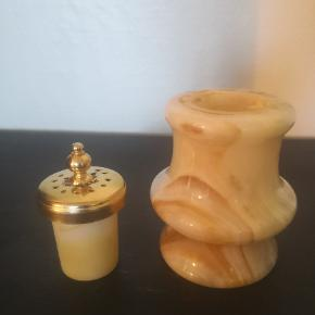 Vintage marmor salve krukke med guld låg