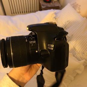Canon EOS 1100D spejlrefleks kamera sælges. Fejler absolut intet og er ikke brugt besynderligt meget. Rem medfølger. Kamerataske medfølger.