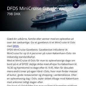 Family Get-a-Way minicruise med DFDS Seaways for op til 4 personer.   Ruten fra København til Oslo.   Skal bruges inden d. 20/12-2019.  Sælges da jeg ikke når at få rejsen brugt.