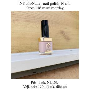 NY ProNails - nail polish 10 ml. farve 148 mani morday  Pris: 1 stk. NU 50,-  Vejl. pris: 129,- (1 stk. tilbage)   Se også over 200 andre nye produkter, som jeg har til salg herinde :-)
