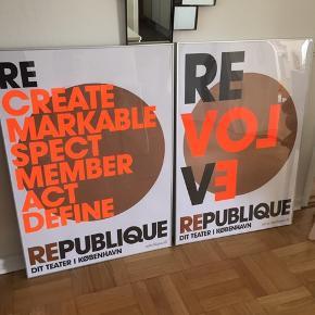 2 stk plakater incl rammer fra teater Republique,  70x100cm Stk pris 400kr Samlet 700kr