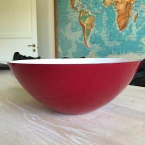 Holmegaard rød skål 30 cm diameter og 12 cm høj pris 200kr