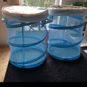 Ikea wilj kusiner opbevarings rør / kurve med låg til børneværelset til fx bamser Fejler intet. Samlet 40kr Som nye.