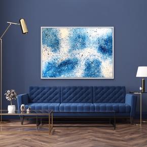 Nyt maleri i sølv ramme, med målene 100 x 140 cm (med ramme). Malet med akryl og spray 🎨 Blå hvid guld sort Pris er uden forsendelse. Tager også imod bestillinger efter egne farve- og størrelsesønsker 🍭🙏🏽 ROAR