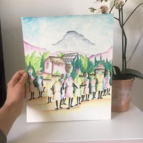 Unika akvarel maleri malet i de fineste pastel farver. Købt på Haiti for små 30 år siden. 27x32cm