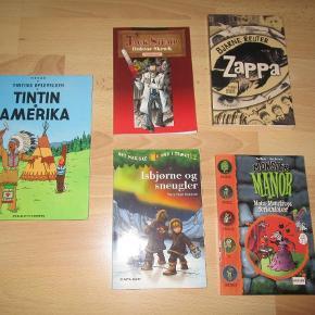 Brand: - Varetype: Forskellige spændende børnebøger Størrelse: - Farve: -  Forskellige børnebøger, Forskellige , genre: ungdom  Forskellige spændende børnebøger, både mysterier og gys, og også fantasy og andet. Der er:  - Tintin i Amerika - SOLGT - Isbjørne og snekugler  - Zappa af Bjarne Reuter  - Jack Stump, Doktor Skræk af Henrik Einspor - Monstor Manor  Kan købes hver for sig eller samlet for 40,- kr + porto, eller kom også gerne med et bud :)