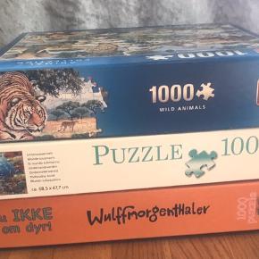 Sælger disse puslespil på 1000 brikker.  De to stk. med motiver af dyr sælges for 25,- pr stk.  som jeg lige kan tælle mig til, mangler der en brik i spillet med tigeren.. Wulffmorgenthaler spillet er helt som nyt og sælges for 45,-