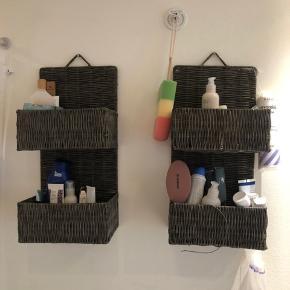 Flettede kurve, perfekt til opbevaring på badeværelset, sælger da vi ikke har plads i ny lejlighed