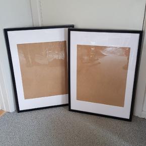 Ikea ribba rammer 50x70 cm Kun den ene ramme har været hængt op. Ville hellere have dem i træfarvet, så sælger dem for 75 kr stykket eller begge for 145 kr. Sender ikke, skal afhentes.