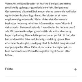 Verso Antioxidant Tumeric Booster. Aldrig åbnet, dog uden æske.  Oprindelig købspris:795kr.