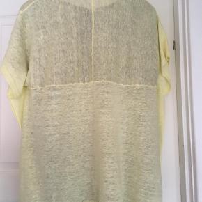Varetype: Poncho Størrelse: Small Farve: Gul  Poncho / trøje   Brystmål  75 cm x2 Længde 65  cm for og  75 cm bagpå 50 % silk  50 % bomuld   Skal lige glattes  Sender gerne flere foto på SMS