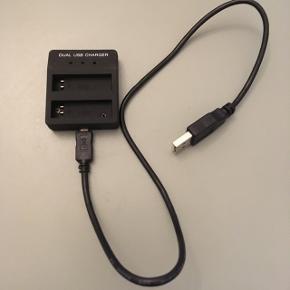 Dobbelt oplader til batterier til bl.a. GoPro Hero 4 silver inkl 1 stk batteri