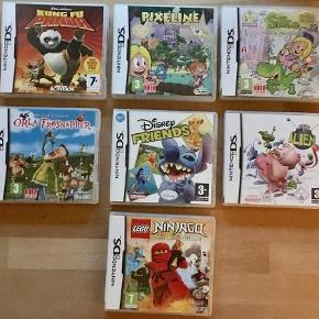 Forskellige spil som passer til både Nintendo DS og Nintendo 3DS.   Alien kr. 25.  Silke kr. 40. Pixeline kr. 40.  Orla Frøsnapper kr. 50.   Sender gerne med DAO for 36 kr. - uanset antal.   Men du er også velkommen til at hente selv😊