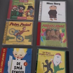 Børne cd'er  Alfons Åberg De små synger Fødselsdag Karina og baktus / paddington Peter pedal Tju bang chokolade mand SOLGT  10kr pr stk