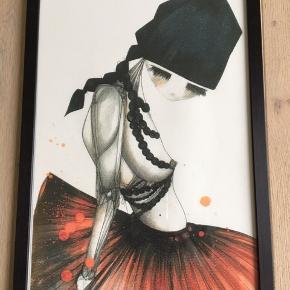 Louise Thomine Super fin plakat i malet træramme med glas. Fremstår helt som ny. Fra røgfrit hjem