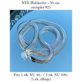 NYE Halskæder - 50 cm. stemplet 925   Pris: 1 stk. NU 40,- / 3 stk. NU 100,-  (5 stk. tilbage)   Se også over 200 andre nye produkter, som jeg har til salg herinde :-)