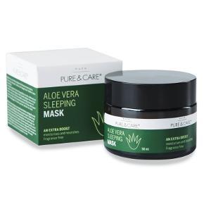 Puca pure & care natmaske med aloe vera  50 ml Modvirker tør og træt hud Minimerer pore Udglatter og blødgører huden Fugtgivende og anti-inflamatorisk