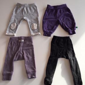 Grå Miniature (store i str.) 30 kr., lilla Freds World nsn, 30 kr., Papfar uld bukser, 30 kr. og sorte Molo glimmer strømpebukser, 20 kr. Hele pakken for 100 kr.
