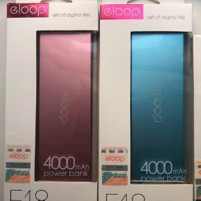 Powerbanks - Helt nye👍 Pink - 4000mAh Blå - 4000 mAh Sort - 5000mAh med LED visning hvor meget strøm der er tilbage.   Pris er stk