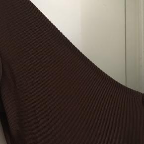 Brun rib tætsiddende kjole, med v udskæring foran og dyb v i ryggen. Brugt 1 gang, da jeg ikke passer den så godt. Passer en 38-40 vil jeg sige🐿