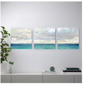 Himmel Over Hav billedserie fra IKEA sælges da jeg ikke har plads til dem. Helt nye.  3 billeder, sælges samlet. Mål hedder 56 x 56 per billede.  Nypris for alle 3 var 249,-  Skal hentes i Ørestad Syd/Amager