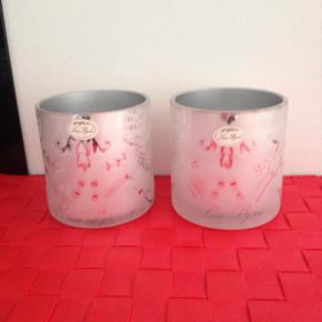 Lene Bjerre frosted glas . Højde 81/2  diameter 8