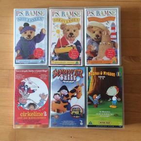 Sælger disse VHS børne film: P.S bamse: Sjov i sneen, strandfesten, sørøveren, med 7 spændende afsnit i hver. Cirkeline 2: Ost og Kærlighed. Magnus og myggen 1: episode 1-6. Sørøver Sally - et dukkespil.  Sælger den for 15 kr pr stk.