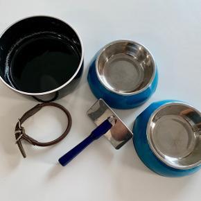 Læderhalsbånd, rundsyet, brunt, 32 cm Madskåle x 2 Vandskål Børste til pelspleje Hunde guf  Kom med et bud  Kan sendes