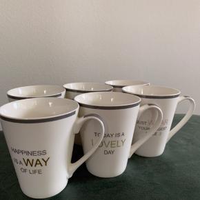 6 kopper med inspirerende citater. Aldrig brugt.  Sendes ikke: Kan afhentes på Frederiksberg eller i Greve.