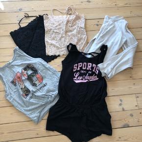 Tøjpakke str. 9-10 år 🌸 3 søde crop toppe, en fin beige strik cardigan og en sort buksedragt 🌸 Sælges kun samlet 🌸