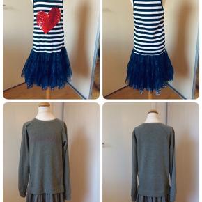 Sælger dette pigetøj, bestående af en bluse og 3 stk kjoler. Blusen er helt ny, aldrig brugt, kjolerne er brugt 1-2 gange. Kommer fra et ikke ryger hjem. Kan afhentes i 2990 Nivå eller sendes mod betaling.  Billede 1: alle de ting jeg sælger Billede 2: kjole med farveskiftende palietter fra Desigual. Str. 146/152(11/12 år). Sælger den til 250kr. Billede 3: kjole fra Marc O'Polo. Str. 152(12 år). Sælger den for 250kr. Billede 4: bluse fra Friboo, str. 134/140(9/10 år). jeg for 50kr. Billede 5:kjole inkl cardigan fra D-XEL + et par stømpebukser fra Mala. Str. 140(10 år). Sælger det for 150kr
