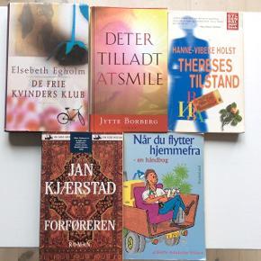 Bøger af danske forfattere.  1 stk. 10 kr. 3 stk. 25 kr.   Fast pris, plus porto.  Betaling: Kontant eller MobilePay.  Bytter ikke.  Annoncen slettes el. opdateres når solgt, så ingen grund til at spørge om dette.  Useriøse henvendelser frabedes.