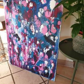 Stort smukt maleri i flotte farver sælges pga pladsmangel. 80x100cm på lærred med akryl farver. Kom med et bud, afhentes hurtigst muligt.  Afhentes/ses udenfor #maleri #kunst #indretning