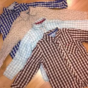 4 skønne skjorter fra Mini A ture :-)  Den med fugleprint mangler en knap ved den ene håndled.  Den med lyseblå tern mangler en knap nederst på maven  Den med mørkeblå tern mangler en knap nederst på maven samt ved det ene håndled  Den med mørkegrå tern har en lille plet på maven  Se billederne :-)  Sælges samlet for 250 + porto
