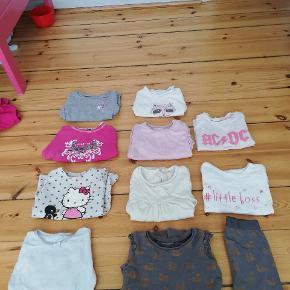8 langærmede trøjee, hvoraf den ene har tilhørende leggins samt 2 t-shirts. Tag alle for 50,- - De indgår også i samlet tøjpakke som findes på profilen!