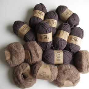 Lækker garn sælges. Lima garn 8 stk, 65% Uld, 35% Alpaca, 50 g = ca. 100 meter Brushed alpaca silk, 6 stk, 77% Alpaca 23% silke. Løbelængde: 25 g = 140 meter  Ikke ryger hjem/ heller ikke husdyr  Sendes med DAO for 40 kr