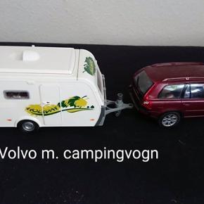 Volvo bil med campingvogn. Bilen mangler et sidespejl, men stadig mange timers leg. Hentes i Esbjerg midtby eller Nørregårdsparken