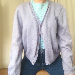 Sød pastel lilla cardigan i strik. Vintage.
