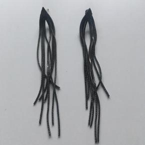 Varetype: Øreringe Størrelse: 10 cm Farve: Grå Oprindelig købspris: 250 kr.  Fine tråd øreringe, som giver et eksklusivt look.