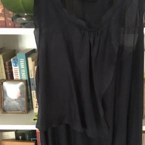 Brugt nogle gange. Stand som ny. 100% silke. Dyb mørkeblå.  Jeg er 1.73 og den hår til anklen.