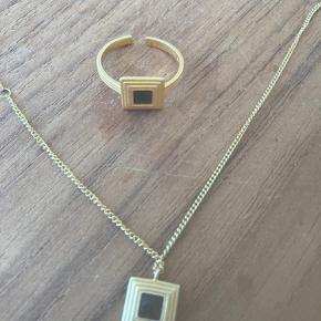 Forgyldt sølv- justerbar ring og justerbar kæde - 38-45 cm