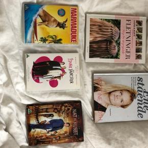 Bøger og film sælges til 50 kroner pr stk.  ellers byd