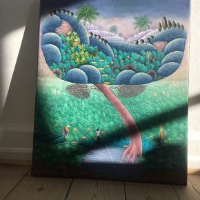 oliemaleri købt på Haiti, Port-au-Prince. Måler 50x60cm. Sender gerne flere billeder af maleriet, hvis flere detaljer ønskes.