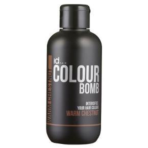 Id Hair Colour Bomb Warm Chestnut 250 ml (gl. design) - Id Hair Colour Bomb Warm Chestnut er en farveforstærkende conditioner. Den virker plejende, og vitamin B5 er med til at styrke hår og hårceller. Hydrolyzed Keratin sørger for at hårets Keratin beholdning opfyldes, og dette gør håret sundt og lækkert. Warm Chestnut er udviklet til at give mørkebrunt hår mere liv og glans.  Fordele:  Genopliver hårfarven Virker plejende Giver glans og intensitet Farvevedligeholdende Anvendelse:  Vask håret som normalt Tør håret med et håndklæde Påfør Colour Bomb i håret Frisér det igennem Lad den virke 3-15 min alt efter ønsket intensitet Skyl grundigt ud